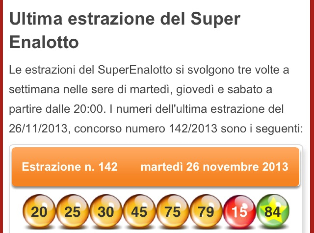 LOTTO, Software Lotto; Superenalotto, estrazioni del LOTTO; SuperEnalotto, Lotto Programmi